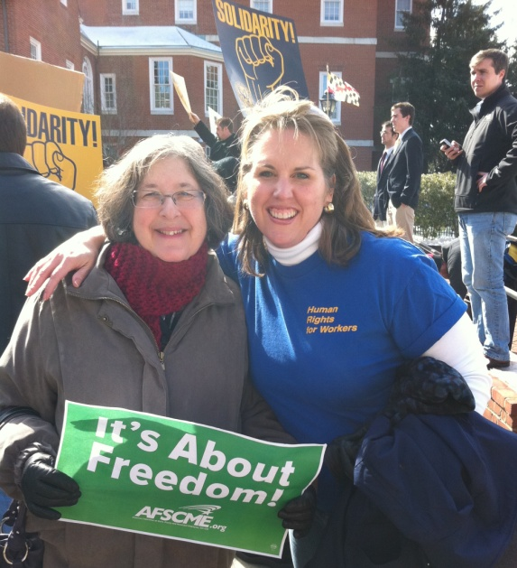 Susan Tannebaum (Maryland Legal Aid Bureau) and Pam Smith (Regional Organizer) at rally